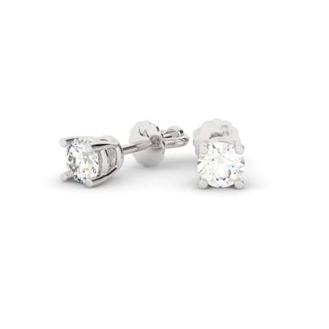 1/2 CT 14KT Gold Round Cut Four-Prong Basket Diamond Stud Earrings