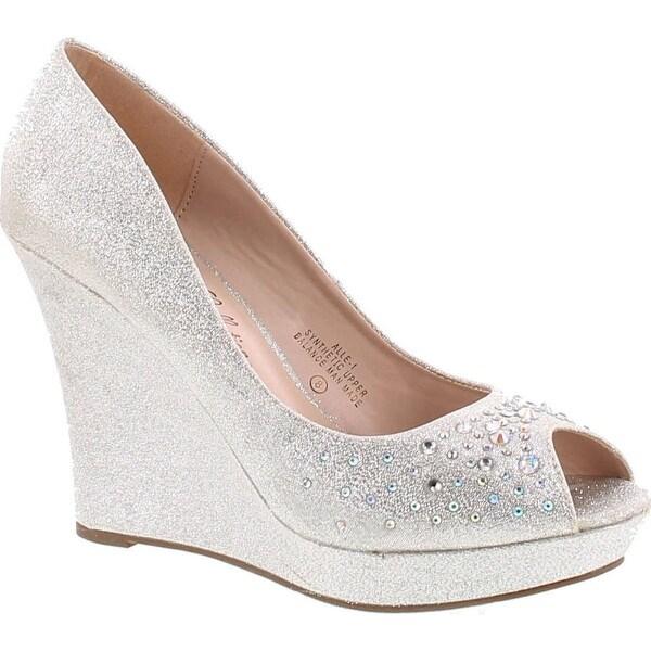 De Blossom Womens Glitter Rhinestone Peep Toe Pump Alle-1