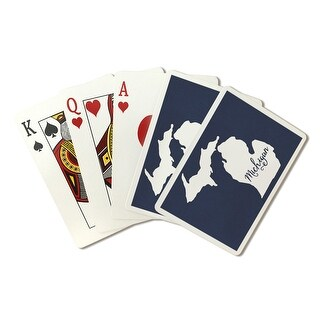 Michigan - Home State - White on Navy - LP Artwork (Poker Playing Cards Deck)