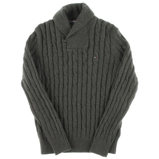 Tommy Hilfiger Mens Cable Knit Wool Blend Pullover Sweater