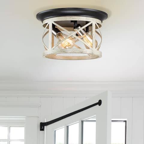 """3-Light Oil-rubbed Bronze and Off-white Woodgrain Flush Mount with Satin Nickel Accent - W14"""" x E14"""" x H8"""","""