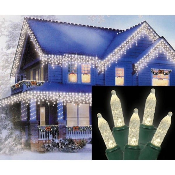 Set of 70 Warm White LED M5 Icicle Christmas Lights - Green Wire