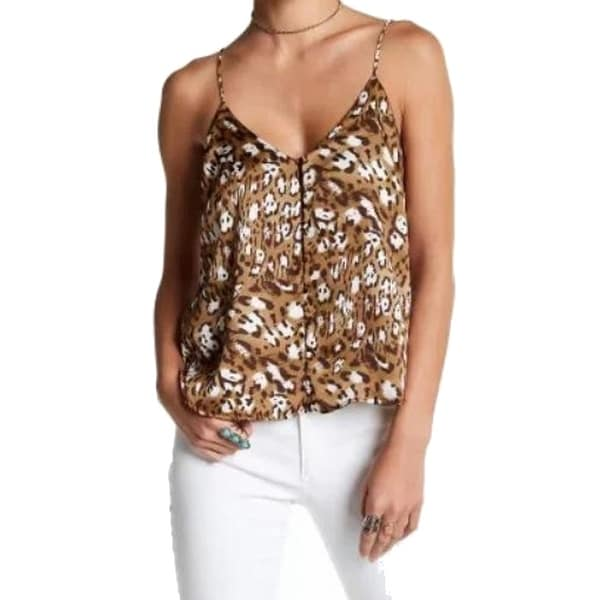 506ed748cc Shop Lush Brown Women s Size Medium M Animal-Print Button Cami Top - Free  Shipping On Orders Over  45 - Overstock.com - 22438163