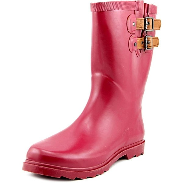 Chooka Top Solid Mid Women Round Toe Synthetic Burgundy Rain Boot