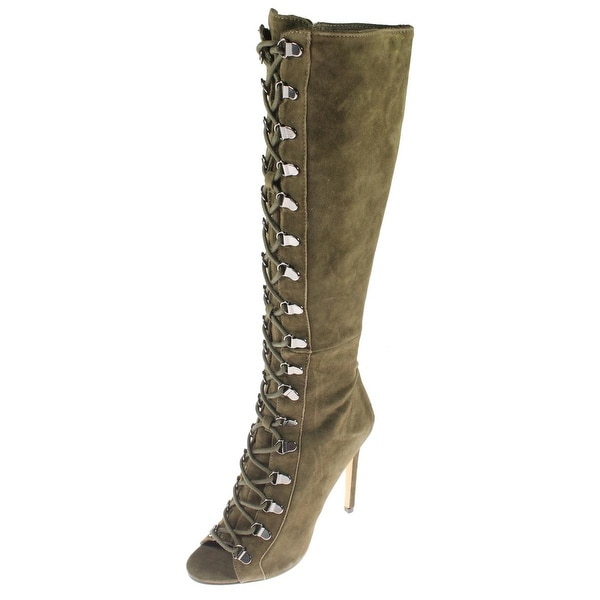 Steve Madden Womens Kinnon Knee-High Boots Lace-Up Open Toe