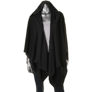 Aqua Womens Merino Wool Hooded Cape Sweater - S