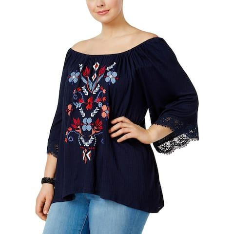 Eyeshadow Womens Plus Blouse Embroidered Off-The-Shoulder