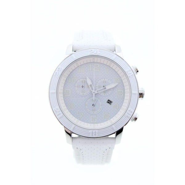 Citizens Womens Eco Drive Chronograph Watch Leather Water Resistant - White