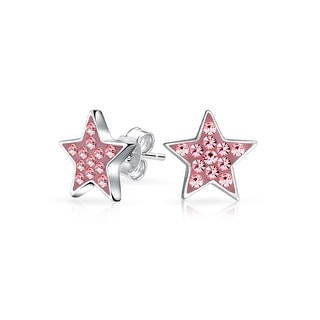 Bling Jewelry Pink Crystal Girls Star Stud earrings 925 Sterling Silver 8mm