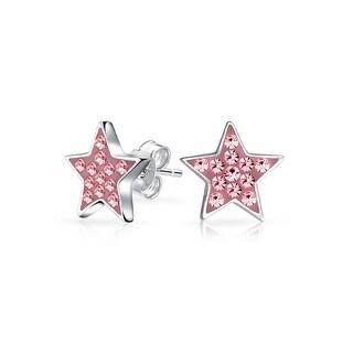Bling Jewelry Pink Crystal Girls Star Stud earrings 925 Sterling Silver 8mm
