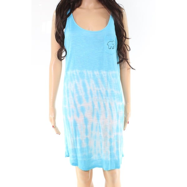 dc203ac5f39 Shop Ivory Ella Blue Tie-Dye Elephant Print Medium M Shirt Tank Dress -  Free Shipping On Orders Over $45 - Overstock - 27094489