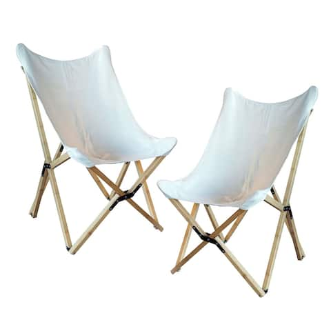 Offex Woven Canvas and Bamboo Butterfly Sling Chair, White - 2 Piece Set