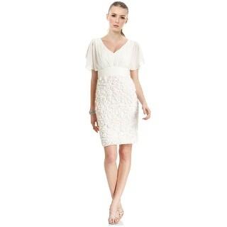 JS Collections Short Split Sleeve Pleated Applique Cocktail Dress - 16
