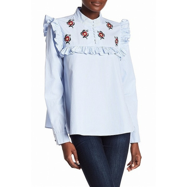 8ced9e8a Shop Abound Ruffle Embroidered Women's Striped Floral Blouse - On Sale - Free  Shipping On Orders Over $45 - Overstock - 26932299
