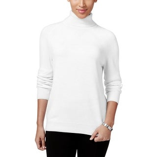 Karen Scott Womens Turtleneck Sweater Knit Ribbed trim