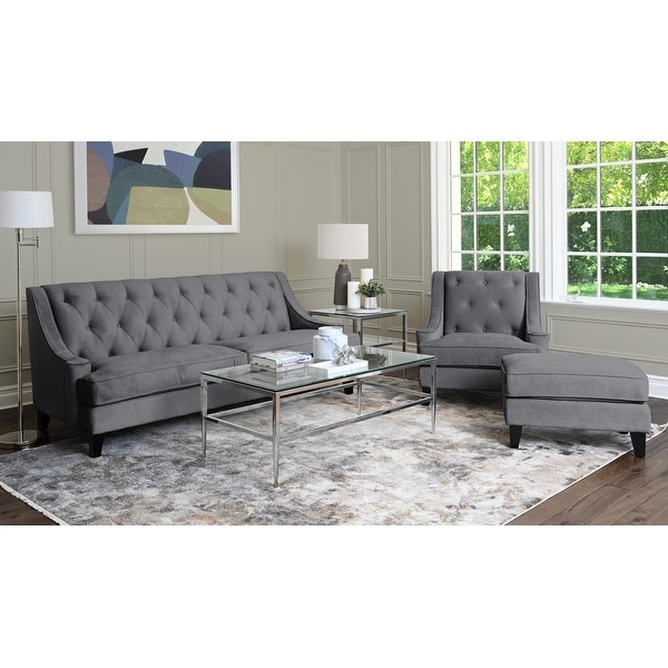 Abbyson Claridge Dark Grey Velvet 3 Piece Livingroom Set. Opens flyout.