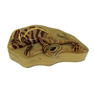 Hand Carved Wooden Chameleon Trinket Puzzle Box - 2.5 X 7.75 X 3.75 inches