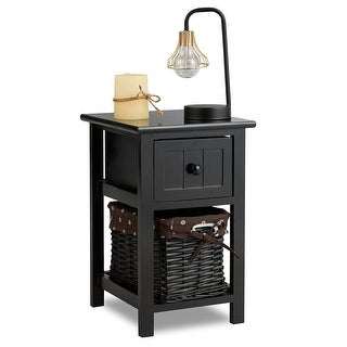 Costway Mini Night Stand 2 Layer 1 Drawer Bedside End Table Organizer Wood Basket Black