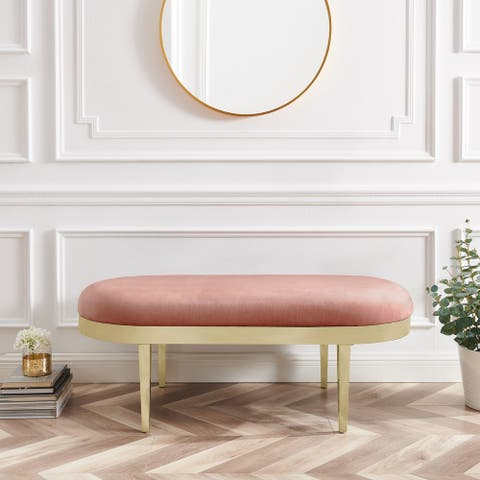 Emilee Upholstered Oval Bench with Polished Legs