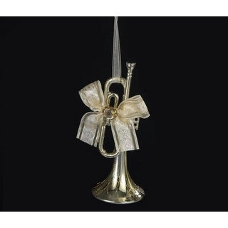 """5"""" Champagne Trumpet with Ribbon Bow Christmas Ornament"""