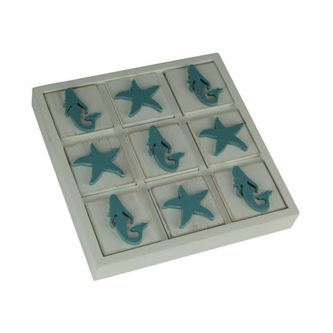 Blue and White Wood Mermaid and Starfish Tic Tac Toe Game Board - 1.25 X 9 X 9 inches