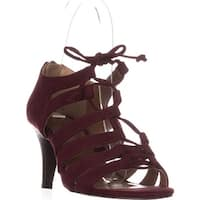 SC35 Hannde Lace Up Strappy Sandals, Raisin