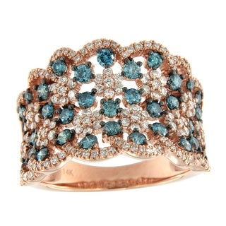 Prism Jewel 1.62Ct Round Ice-Blue Color Diamond and Natural Diamond Fancy Ring - White G-H