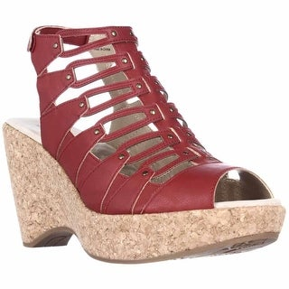 Jambu Lillian Strappy Wedge Sandals - Red
