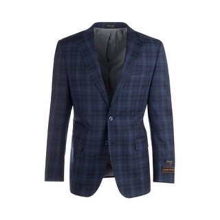 Dolcetto Navy Blue with Black and Light Blue Windowpane/Plaid Modern Fit, Pure Wool Jacket by Tiglio Luxe 865129/2 (More options available)