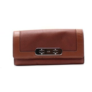 Coach NEW Brown Saddle Leather Swagger Slim Envelope Wallet Clutch