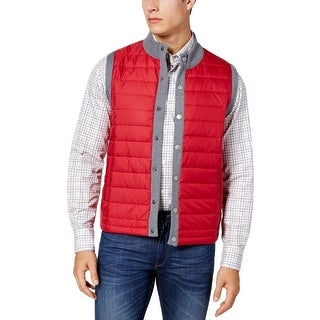 Barbour Red Gray Mens Size Medium M Snap Button Puffer Vest Jacket
