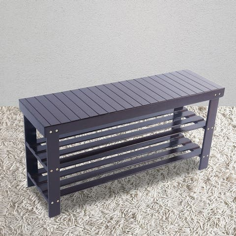 3-Tier Shoe Rack Bench, Entryway Shoe Storage Organizer Holds Up to 240 lbs