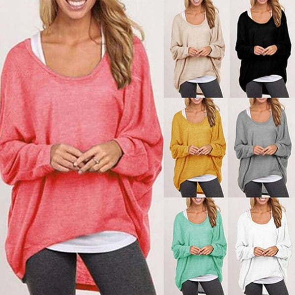 Women's Casual Long-Sleeve Knit Sweater Loose Baggy Top