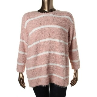 Calvin Klein Womens Plus Striped Long Sleeves Pullover Sweater - 1X