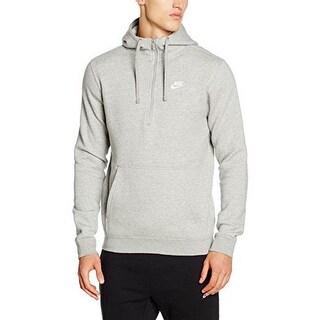 Nike Mens Nsw Hoodie Hz Flc Club, Dk Grey Heather/Dk Grey Heather/White, Xl