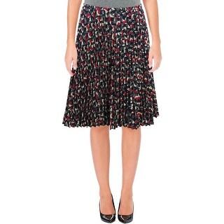 Lauren Ralph Lauren Womens Pleated Skirt Geo-Print A-Line