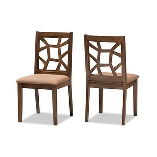 Abilene Light Brown Fabric Upholstered & Walnut Brown Dining Chair - 2pcs