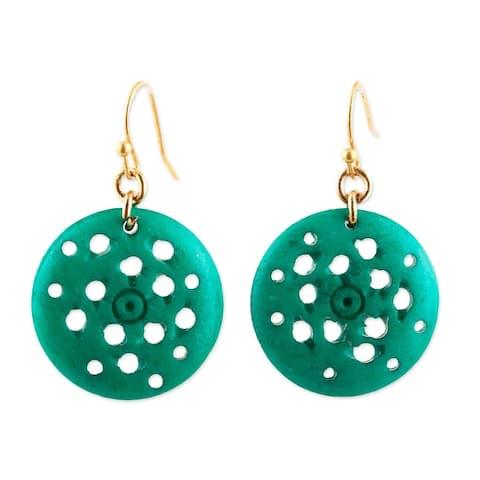 NOVICA Delightful Round, Bone dangle earrings