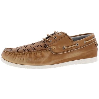 Steve Madden Mens Cyan Boat Shoes Distressed Leather