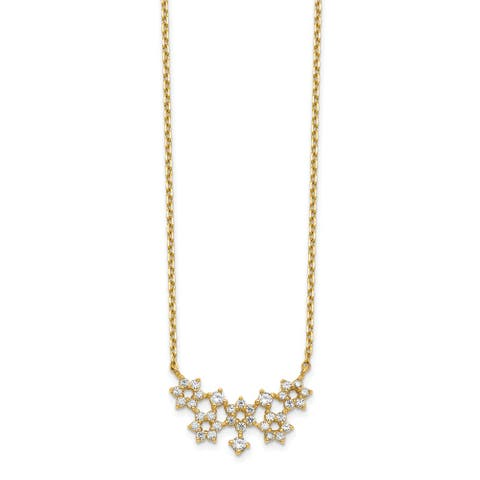 14K Yellow Gold Cubic Zirconia Cluster with 2-inch Extension Necklace by Versil