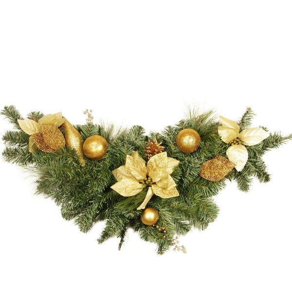"""36"""" Pre-Decorated Pine, Gold Poinsettia and Ornament Adorned Artificial Christmas Swag - Unlit"""