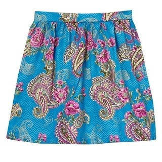 Little Girls Blue Fuchsia Floral Paisley Chevron Pattern Cotton Skirt 12M-6