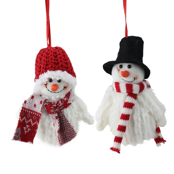 "2-Piece Set of Tiny Smiling Christmas Fuzzy Snowman with Hat and Striped Scarf Ornaments 5"" - WHITE"