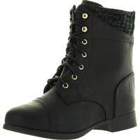 Top Moda Womens Smart30 Black Military Leatherette Sweater Cuff Lace Up Zipper High Top Ankle Boots