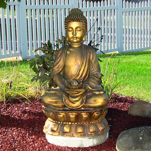 Sunnydaze Relaxed Buddha Fountain - Outdoor Water Feature - Lighted - 36-Inch