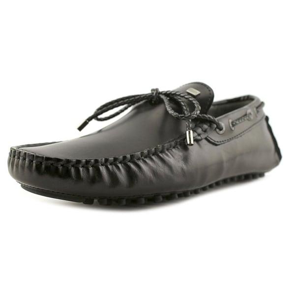 CR7 Rumba Men Moc Toe Leather Black Loafer