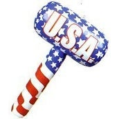 USA Patriotic American Flag Inflatable Toy Hammer Mallets - 1 Dozen