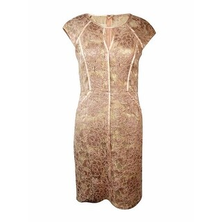 Decode 1.8 Women's Satin-Pipe Trim Illusion Lace Sheath Dress - blush