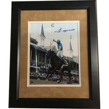 Victor Espinoza signed 8X10 Photo Custom Framed 2015 Kentucky Derby Horse Racing Triple Crown Stein