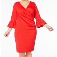 Betsy & Adam Red Women's Size 18W Plus Bell-Sleeve Sheath Dress